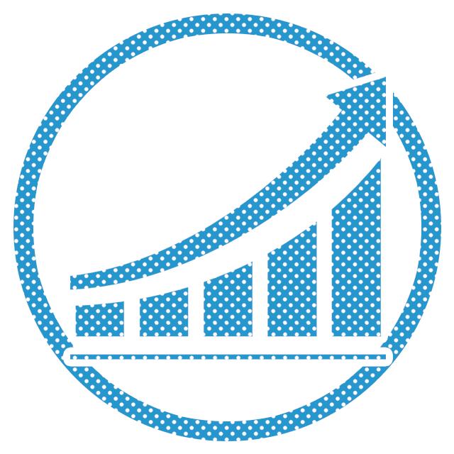 SNS運用・WEB広告運用、メルマガ配信、アクセス解析、SEO対策の制作の水色のイメージアイコン