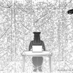第24回岡本太郎現代芸術賞(TARO賞)応募プランのイメージイラスト、黒子がオフィスワークをしているイラスト(山本ありさ作画)